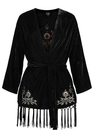 The 1920's Black Velvet Metallic Thread Peacock Smoking Jacket - The Deco Haus
