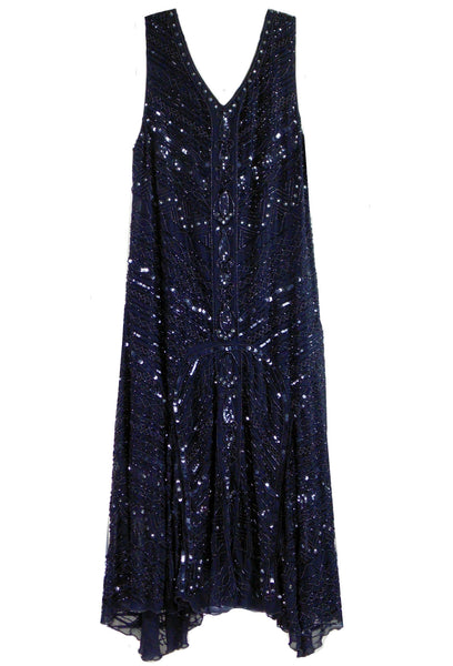 1920s Beaded Art Deco Gatsby Party Dress - The Sophisticate - Black Jet - The Deco Haus