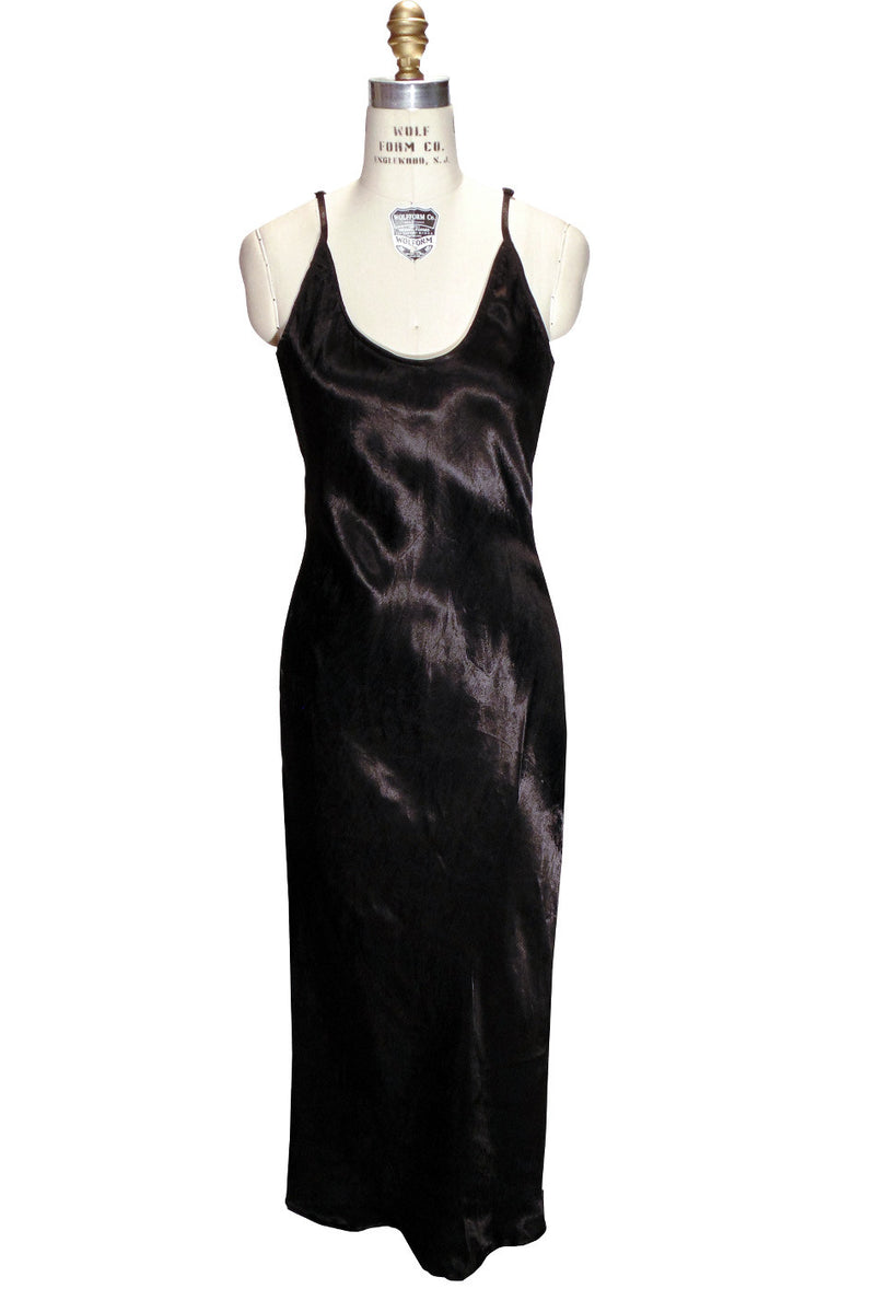 1930's Bias Glamour Full Length Gatsby Slip Dress - Black - The Deco Haus