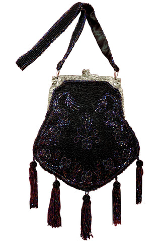 1920's Inspired Gatsby Beaded Tassel Evening Purse - Black Iridescent - The Deco Haus