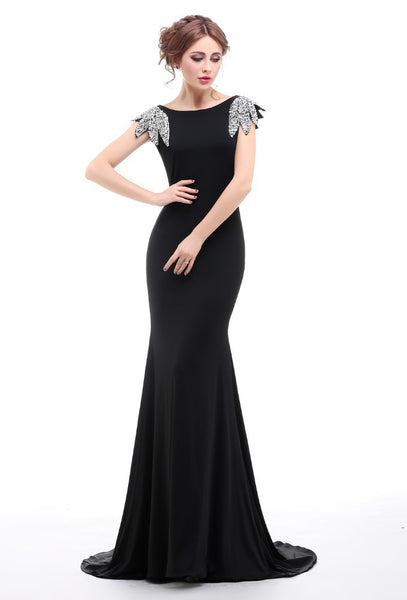 1930's Bias Sequin Backless Fishtail Lombard Gown - Black