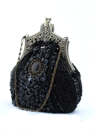 1920's Inspired Gatsby Beaded Teardrop Evening Purse - Black