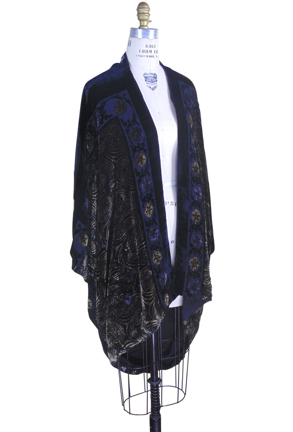 The 1920s Silk Velvet Cocoon Batwing Swanson Opera Coat - Black Gold Deco - The Deco Haus