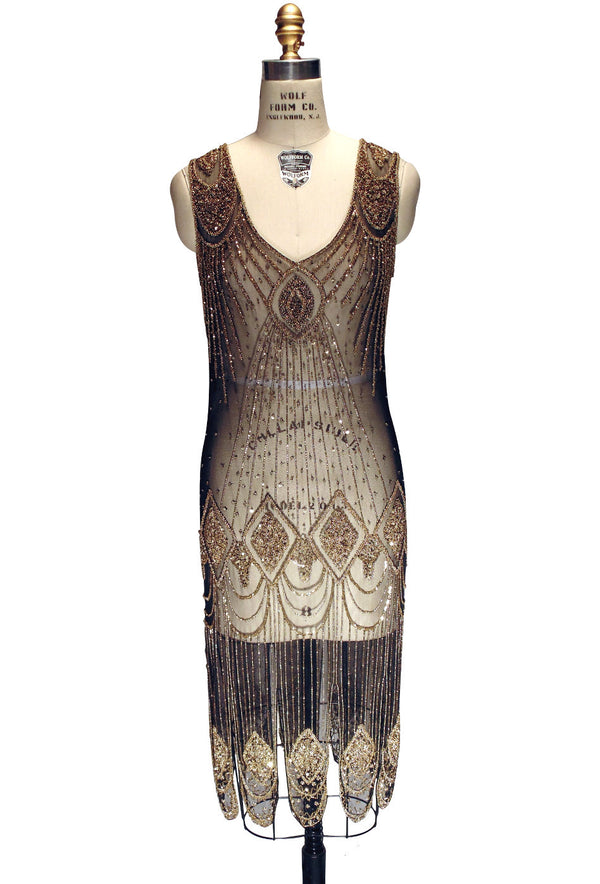 1920's Flapper Carwash Hem Beaded Party Dress - The Starlet - Midi - Gold on Black - The Deco Haus