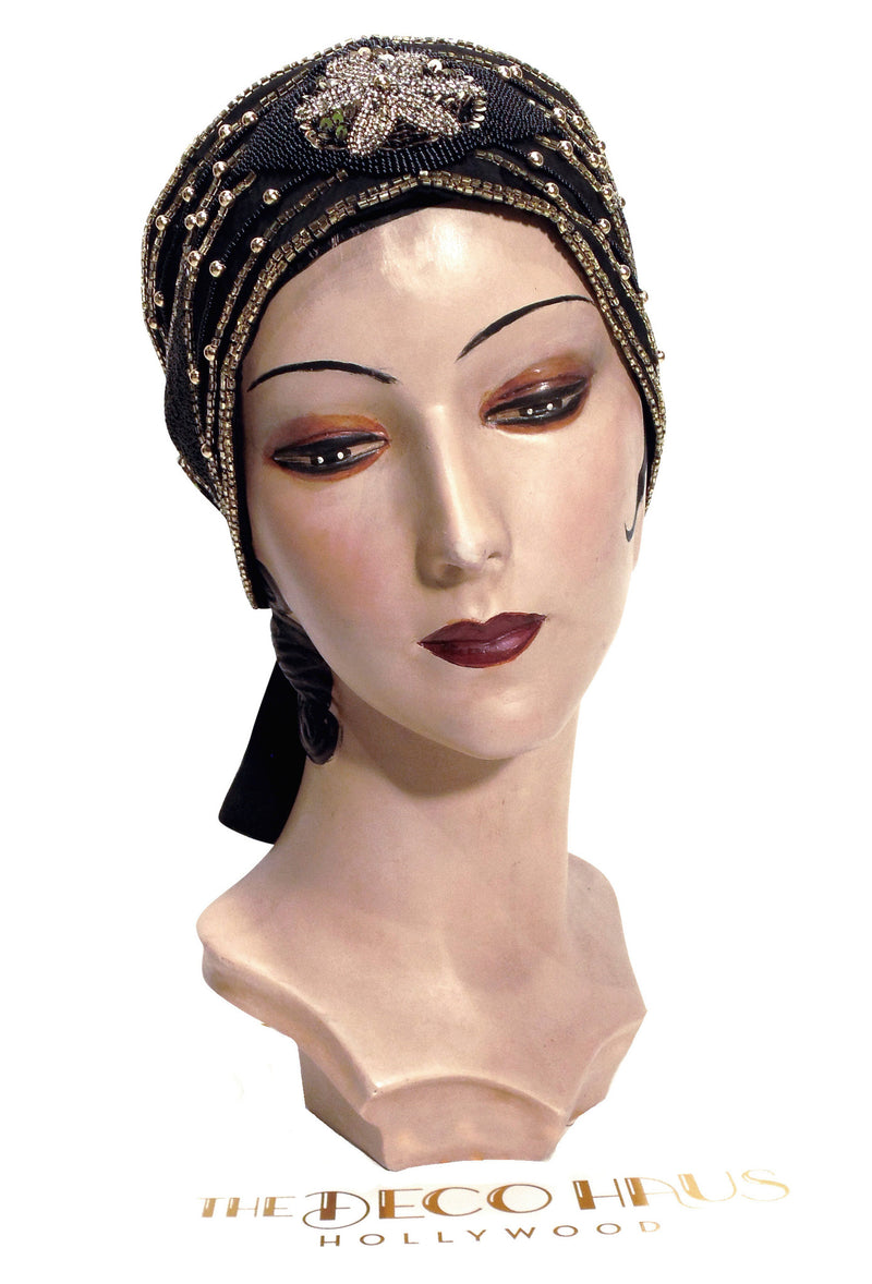 The Danseuse Silk Head Wrap 20s Flapper Cummerbund - Black with Gold - The Deco Haus