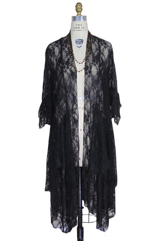 Ultra Chic Victoriana Lace Open Front Handkerchief Robe - Black