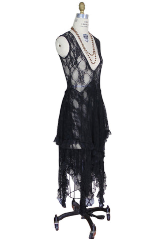 Ultra Chic 30's Victoriana Lace Low Cut Handkerchief Dress - Black