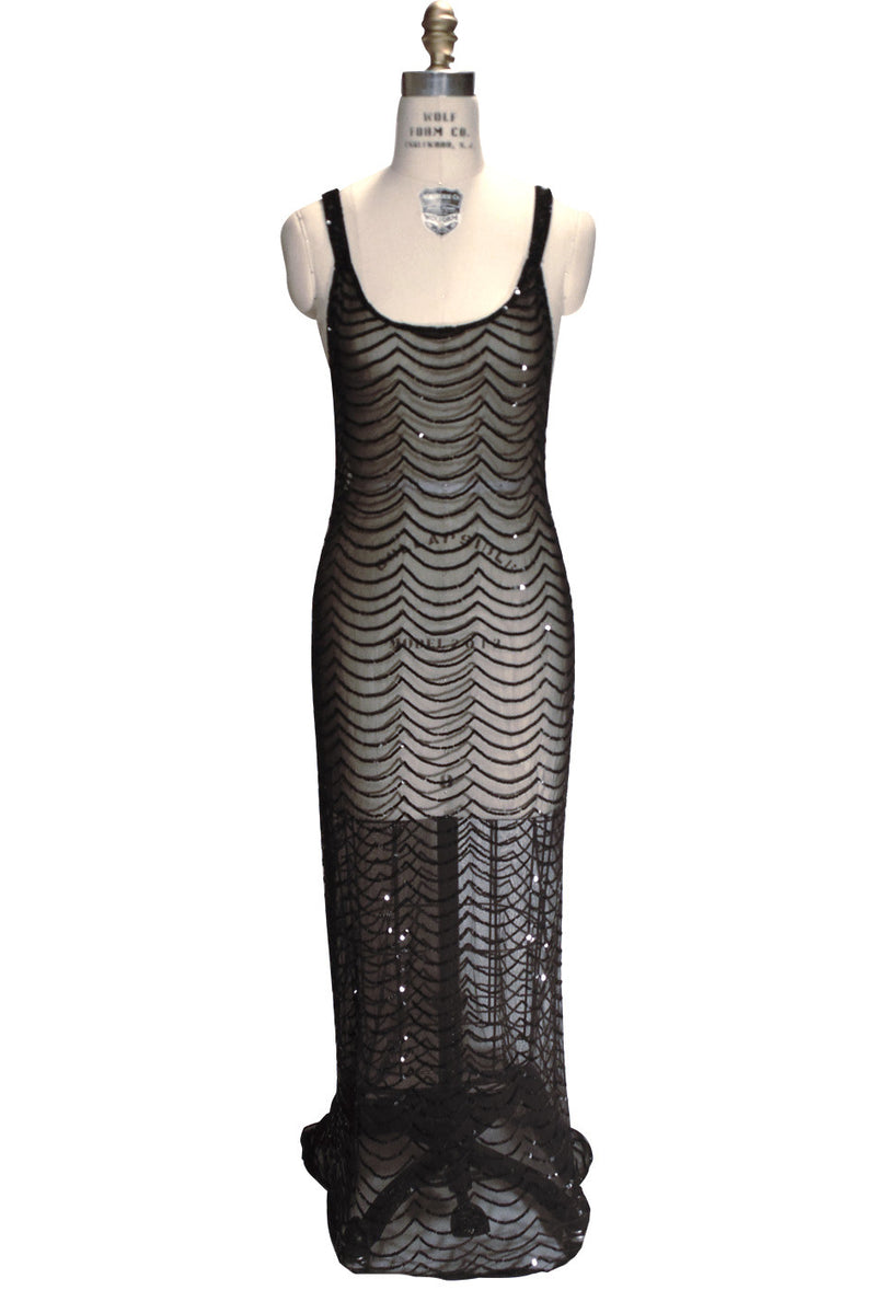 1930s Sequin Full Length Glamour Gown - The Poisson - Black Jet - The Deco Haus