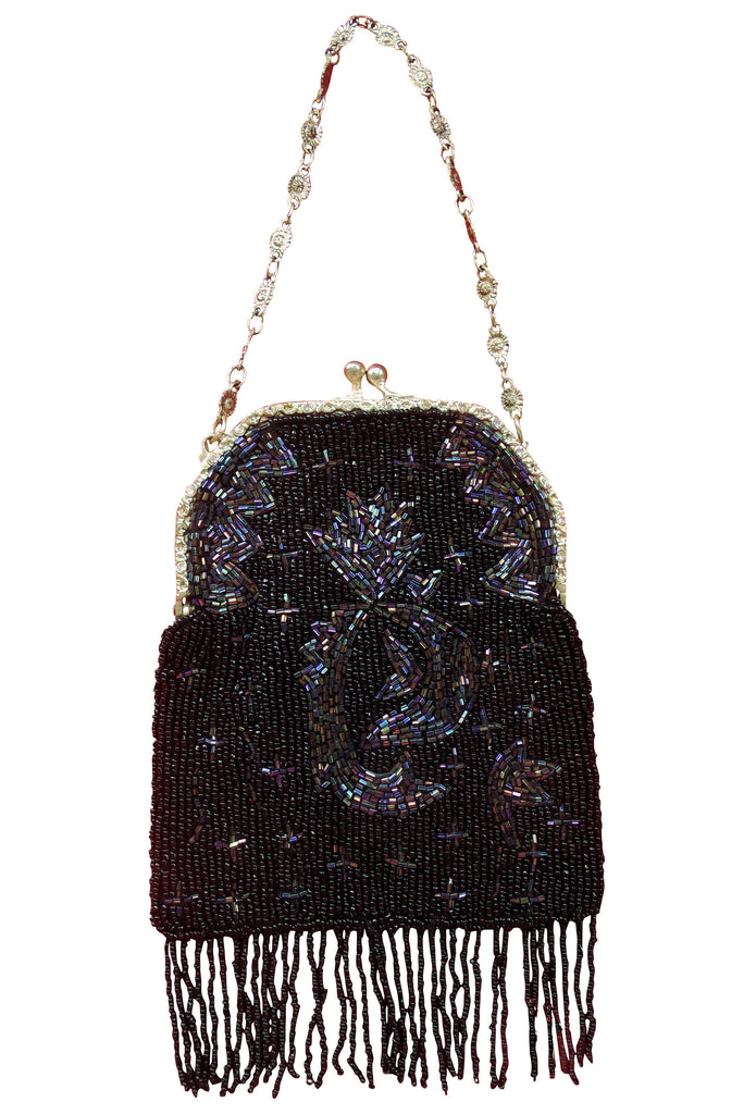 1920s Handbags, Purses, and Shopping Bag Styles 1920s Inspired Gatsby Beaded Fringe Evening Purse - Black Iridescent $64.95 AT vintagedancer.com