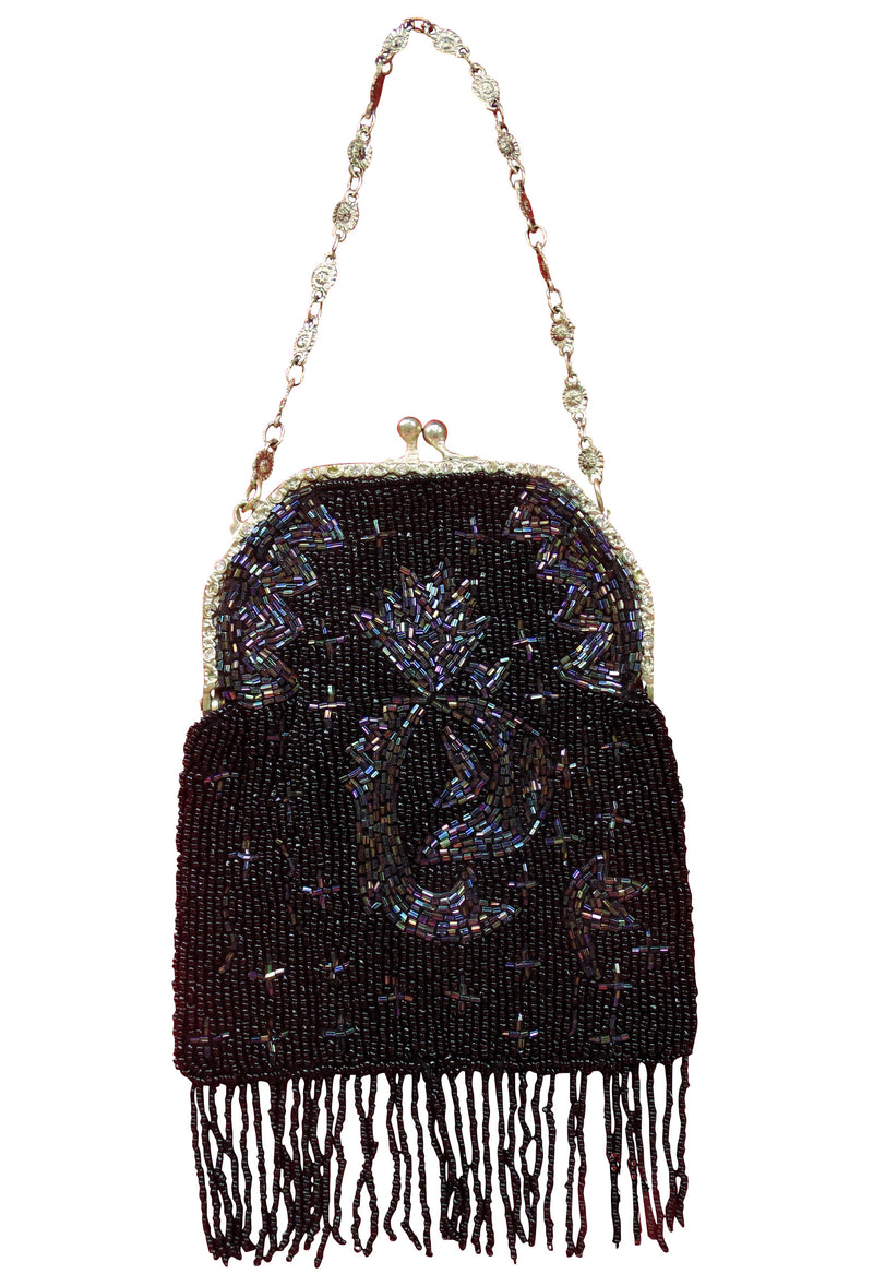 1920's Inspired Gatsby Beaded Fringe Evening Purse - Black Iridescent - The Deco Haus