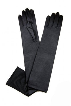 Vintage Style Satin Long Opera Evening Glove - Ebony Black - The Deco Haus