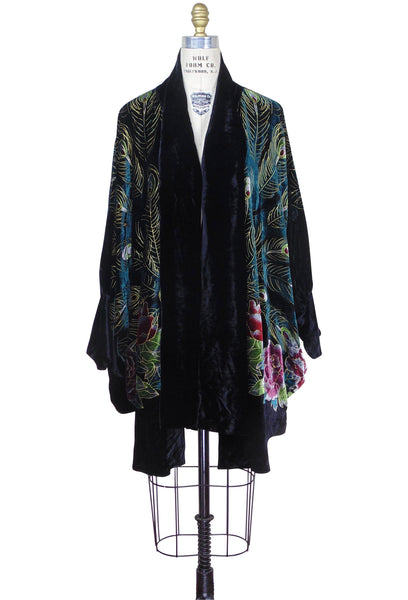 Victorian Peacock 1920's Silk Velvet Batwing Cocoon Opera Coat - Black - The Deco Haus