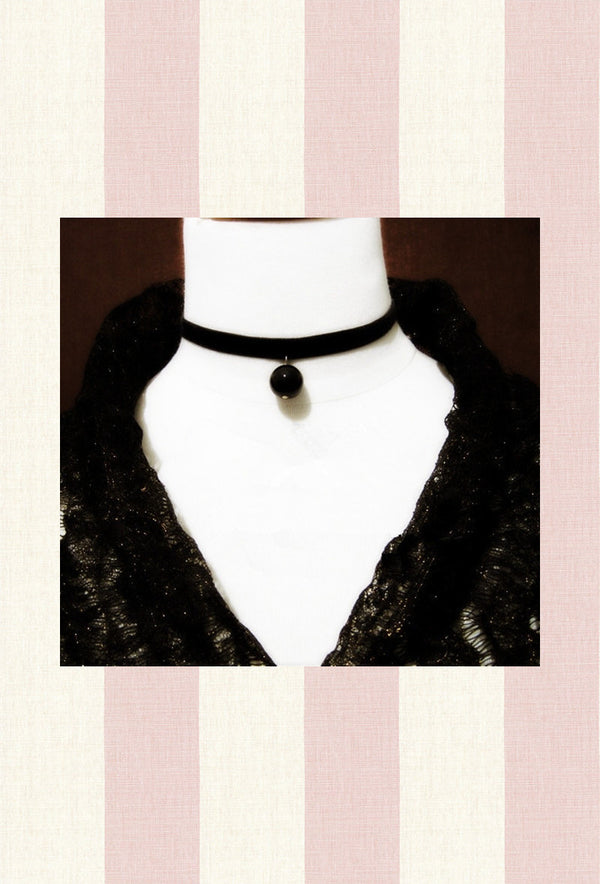 Black Deco Satin Pearl Ribbon Victorian Choker Necklace - The Deco Haus