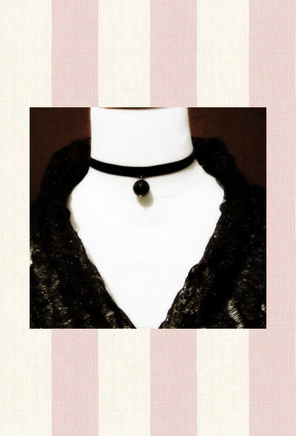 Deco Satin Pearl Black Ribbon Victorian Choker Necklace