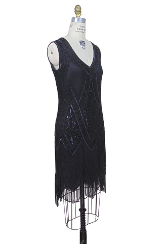 1920's Vintage Flapper Beaded Fringe Gatsby Gown - The Icon - Black Silk - The Deco Haus