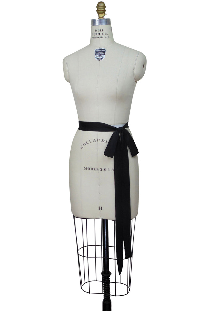 1920's Deco Gatsby Silk Belt Sash Black