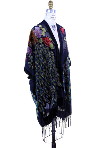 The 1920s Art Deco Peacock Burnout Vintage Velvet Beaded Evening Wrap - Black - The Deco Haus