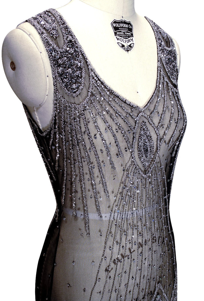 1920's Flapper Carwash Hem Beaded Party Dress - The Starlet - Midi - Silver on Black - The Deco Haus