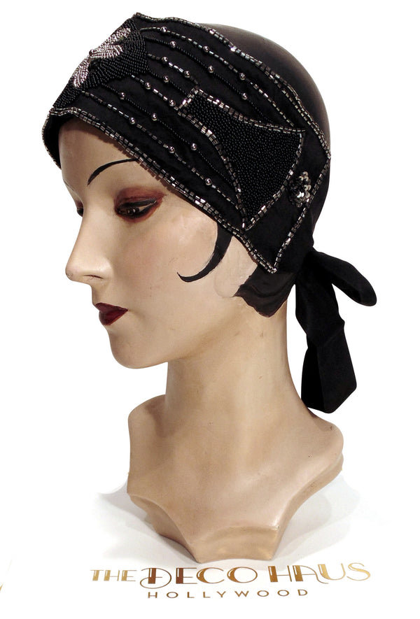The Danseuse Silk Head Wrap 20s Flapper Cummerbund - Black with Silver - The Deco Haus