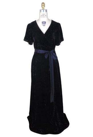 1930's Velvet Flutter Sleeve Gatsby Gown Dress Vintage Black