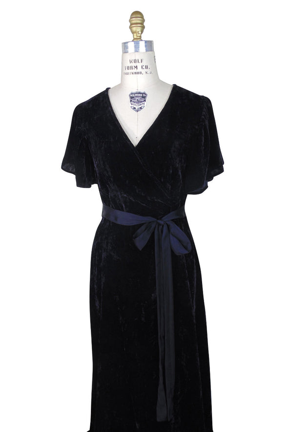 1930's Style Velvet Flutter Sleeve Full Length Glamour Gown - Black - The Deco Haus