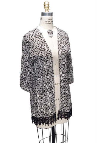 Black White Art Deco Lace Kimono Lounge Jacket
