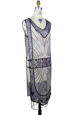 1920's Beaded Vintage Deco Tabard Panel Gown - The Modernist - Black on White - The Deco Haus