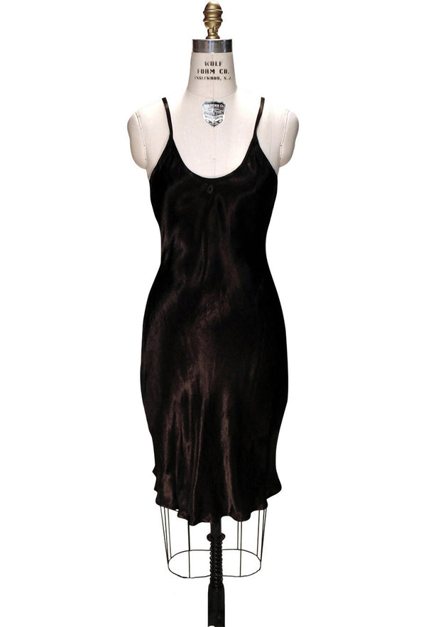 1930's Style Satin Bias Gatsby Glamour Slip Dress - Black - The Deco Haus