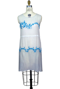 Vintage Style 20s Dropwaist Cotton Day Dress - The Deco Garland - Blue Gauze - The Deco Haus
