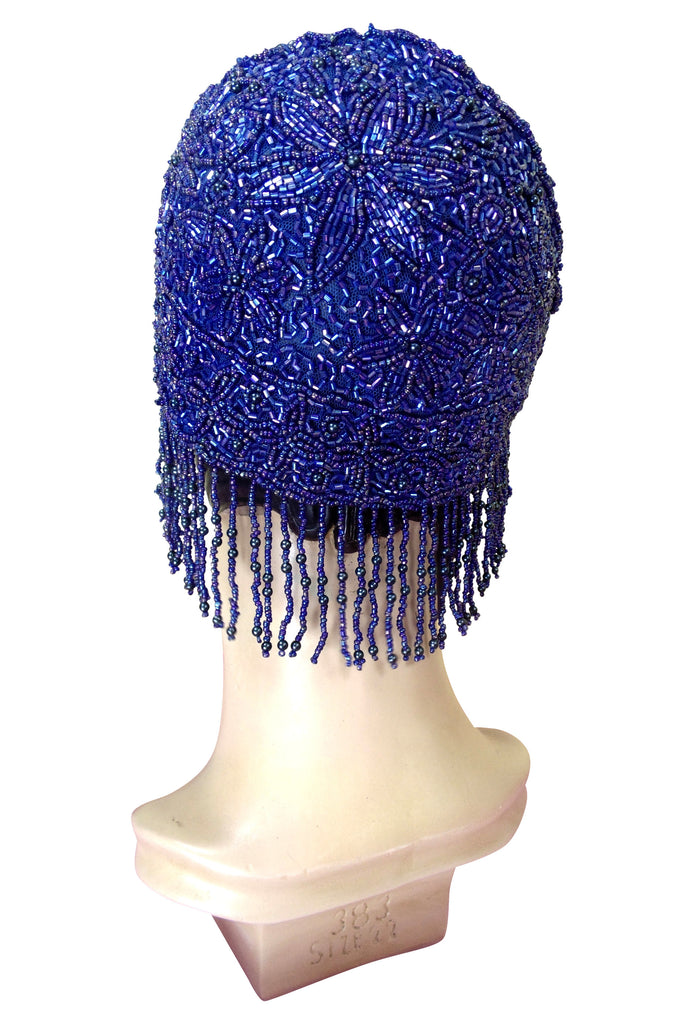 1920s Hand Beaded Gatsby Flapper Party Cap - Short Fringe - Cobalt Blue - The Deco Haus