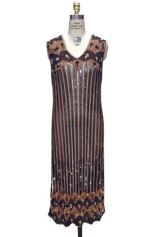 Blue Striped Art Deco Beaded 1920's Vintage Gown