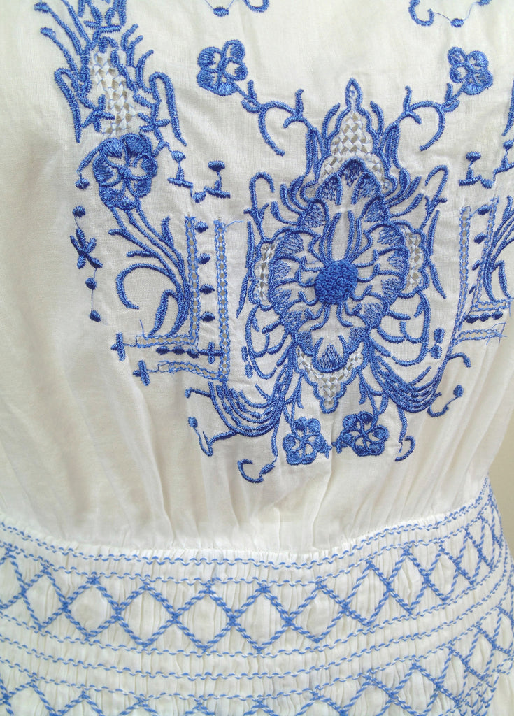 1930s Vintage Embroidered Smocked Bohemian Peasant Dress - The Heirloom - French Blue on White - The Deco Haus
