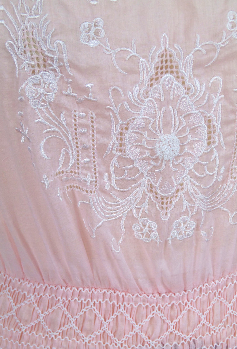 1930s Vintage Embroidered Peasant Dress - The Heirloom - Blush Pink - The Deco Haus