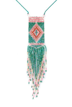 The 1920's Art Deco Beaded Sautoir Necklace - Aqua & Rose - The Deco Haus