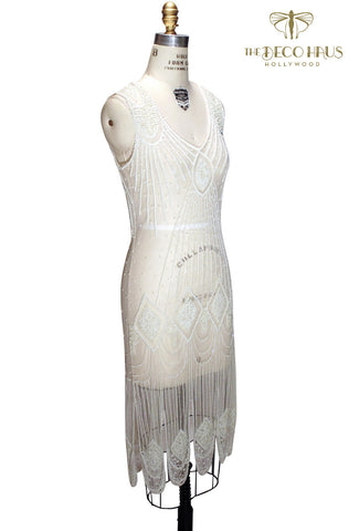 1920's Flapper Carwash Hem Beaded Party Dress - The Starlet - Midi - Cream Bone - The Deco Haus