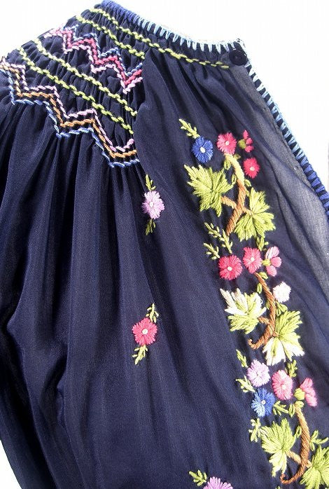 1930s Embroidered Vintage Peasant Dress - The Brigitte - Midnight Blue - The Deco Haus