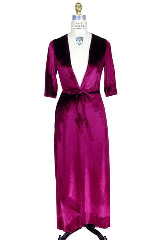 The Vintage Velvet Open Front Wrap Dress - Bordeaux Red - The Deco Haus