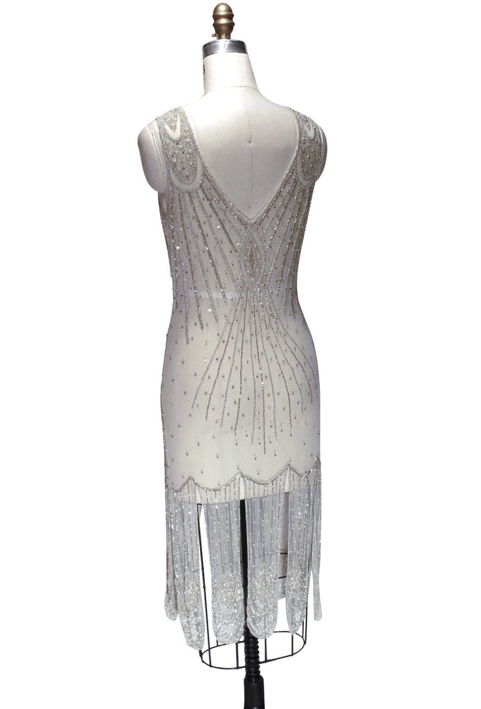 1920's Flapper Carwash Hem Beaded Party Dress - The Starlet - Midi - Champagne - The Deco Haus