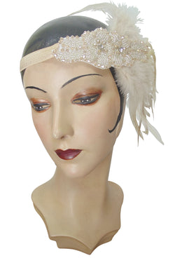Champagne Luxe Ostrich Art Deco Vintage Style Wedding Headband Bandeau - The Deco Haus