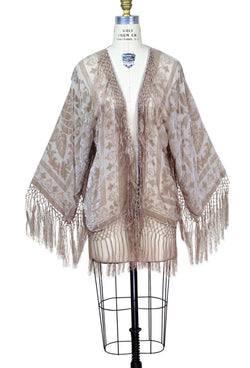The 1930's Art Deco Kimono Scarf Jacket - Champagne Rose Silk - The Deco Haus