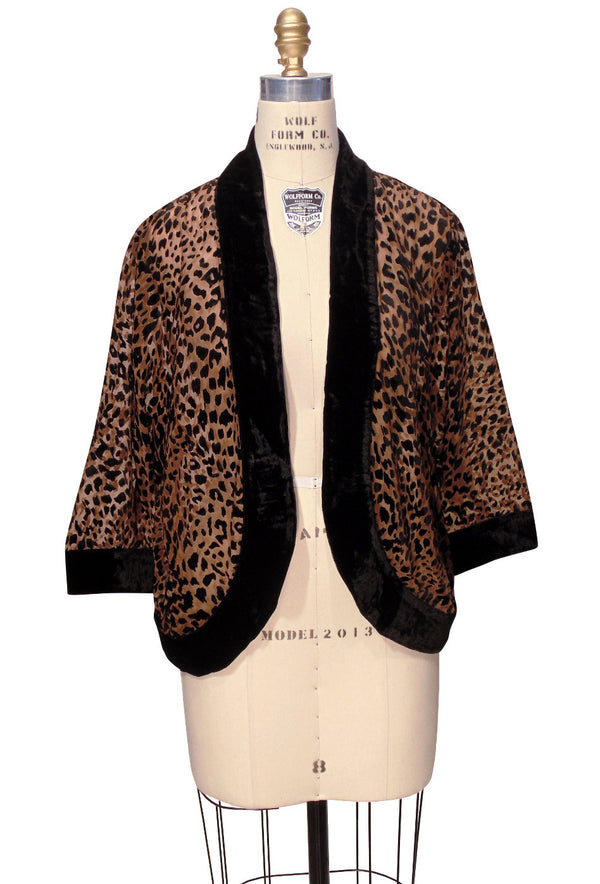 The Art Deco Velvet Burnout Bolero 1920s Smoking Jacket - Cheetah - The Deco Haus