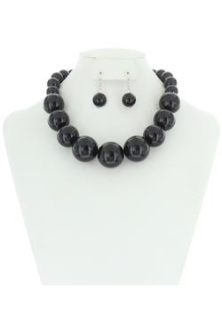 Chunky Large Pearl Gatsby Flapper Party Necklace Set - Black
