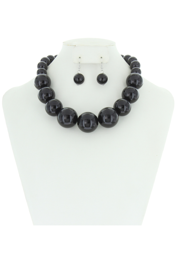 Chunky Large Pearl Gatsby Flapper Party Necklace Set - Black - The Deco Haus