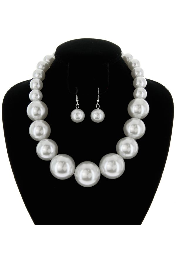 Chunky Large Pearl Gatsby Flapper Party Necklace Set - Cream