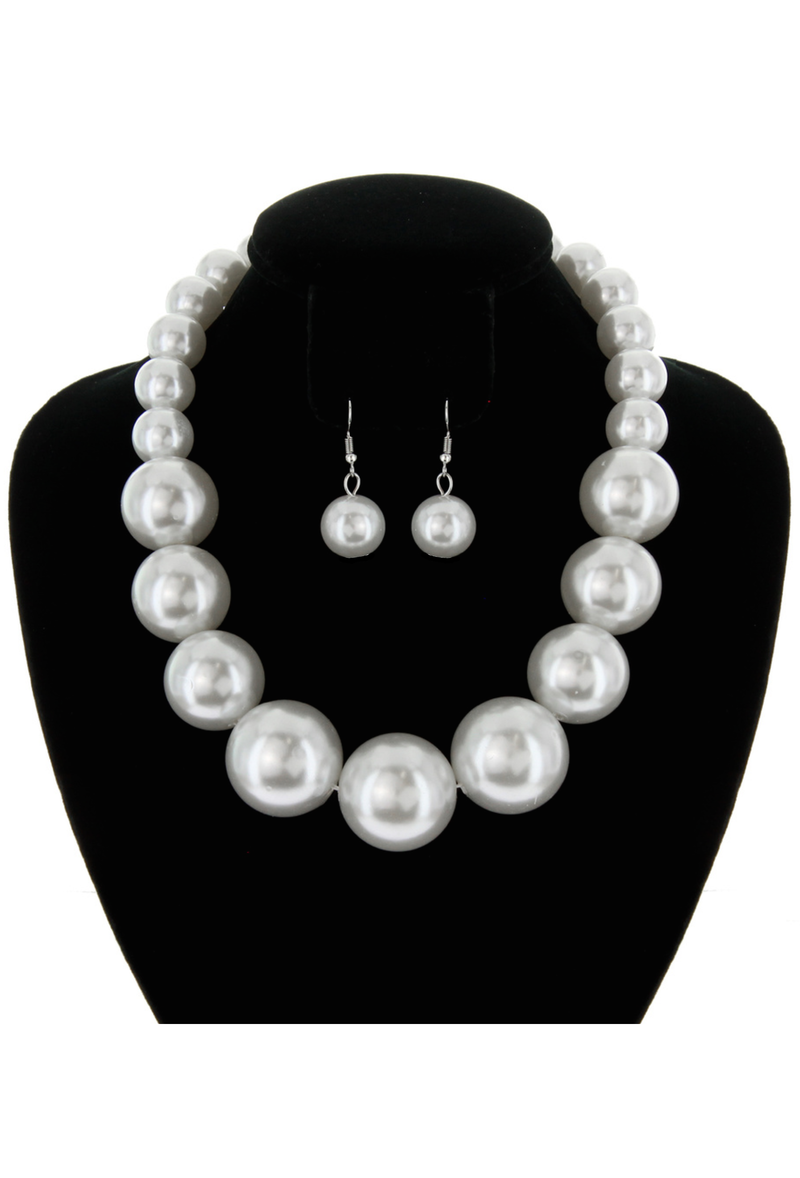 Chunky Large Pearl Gatsby Flapper Party Necklace Set - Cream - The Deco Haus