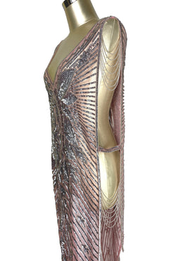 Cinema Collection - 1920's Art Deco Panel Draped Tabard Gown - The Blow-Up Dress - Pink Silver