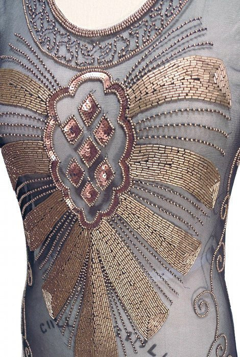1920s Art Deco Egyptian Style Gown - The Cleopatra - Kohl - The Deco Haus