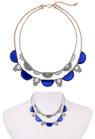 The Art Deco Statement Double Crystal Necklace - Cobalt