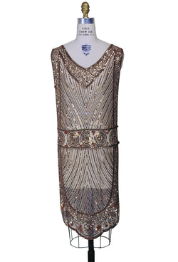 1920's Beaded Vintage Deco Tabard Panel Gown - The Modernist - Copper - The Deco Haus