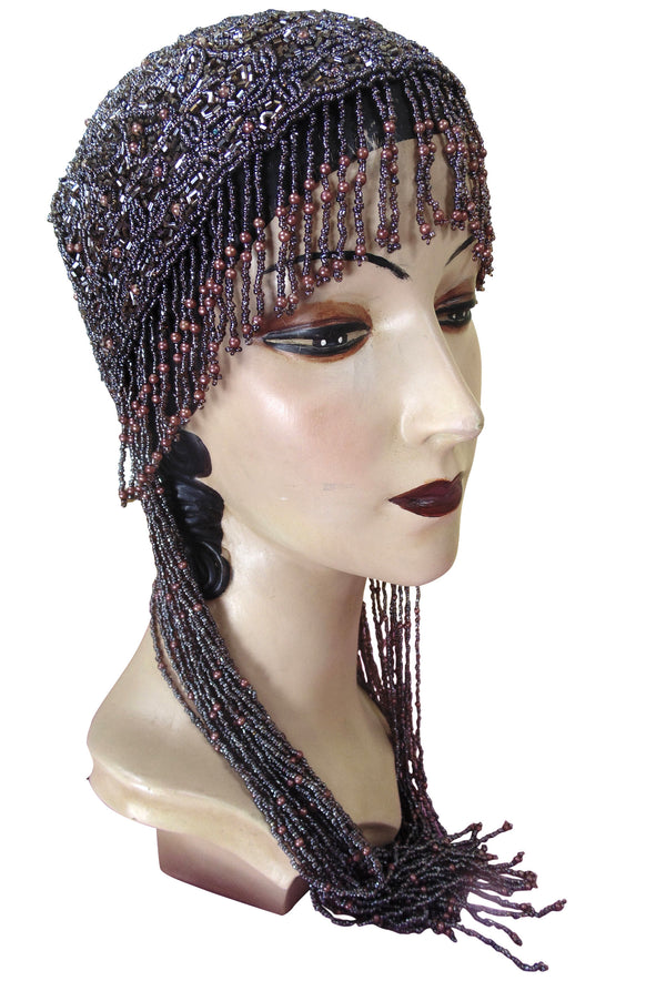 1920s Hand Beaded Gatsby Flapper Party Cap - Long Fringe - Dark Plum - The Deco Haus